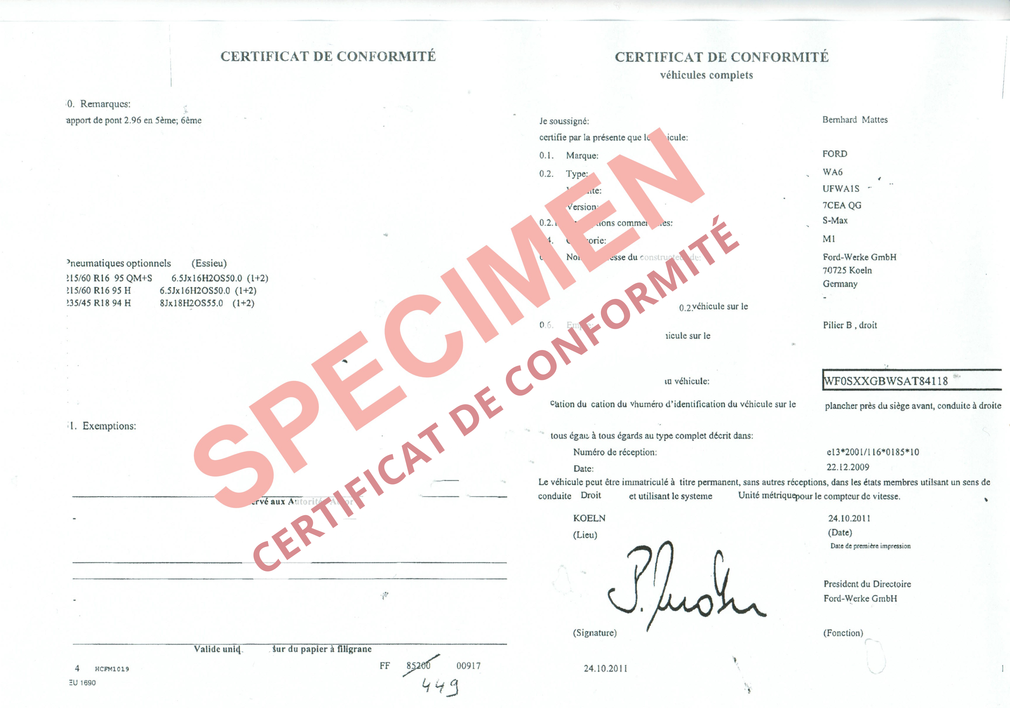 certificat de conformit europ en ford coc commandez votre certificat de conformit c o c. Black Bedroom Furniture Sets. Home Design Ideas