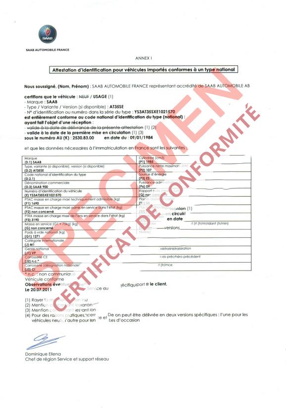 certificat de conformit europ en saab coc commandez votre certificat de conformit c o c. Black Bedroom Furniture Sets. Home Design Ideas