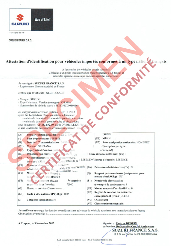 certificat de conformit europ en suzuki coc commandez votre certificat de conformit c o c. Black Bedroom Furniture Sets. Home Design Ideas
